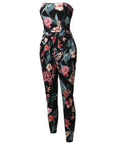 Women's Casual Cute Sexy Side Pockets Shirring  Stretchable Floral Tube Top Jumpsuit