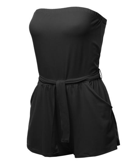 Women's Casual Solid Tube Romper Beachwear One-piece Jumpsuit