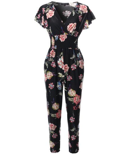 Women's V-Neck Ruffle Short Sleeves Smocking Waist Floral Long Jumpsuit