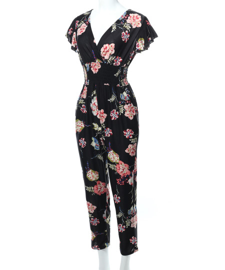 Women's V-Neck Ruffle Short Sleeves Smocking Waist Floral Long Jumpsuit