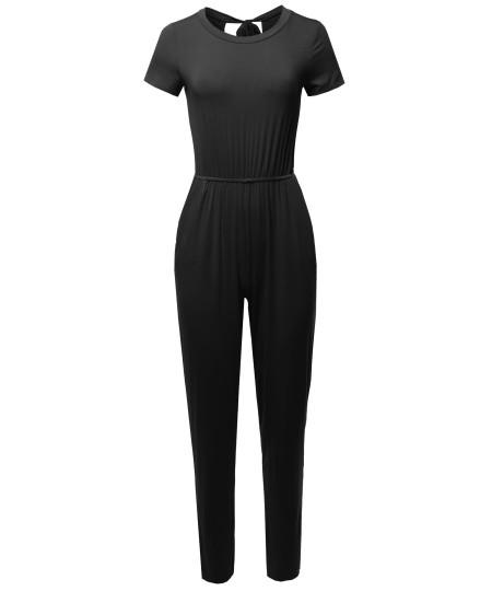 Women's Causal Short Sleeves Open Back Romper Jumpsuit