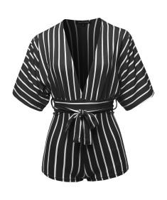 Women's Pinstripe Print Dolman Sleeves Romper Beachwear One-piece Jumpsuit