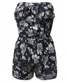 Women's Printed Off-Shoulder Festival Party Ruffled Pocket Romper