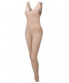 Women's Solid Sleeveless Scoop Neck Bodycon Jumpsuit Bodysuit