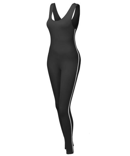 Women's Solid Sleeveless Scoop Neck Bodycon Contrast Side Jumpsuit Bodysuit
