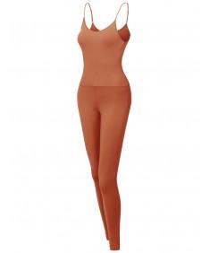 Women's Solid Spaghetti Strap Cami Bodycon Jumpsuit Bodysuit