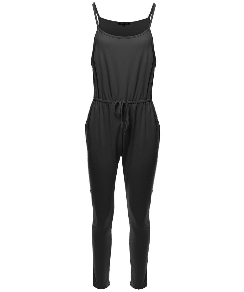 Made by Emma Womens Sleeveless Elastic Waist Adjustable Straps Long Jumpsuit