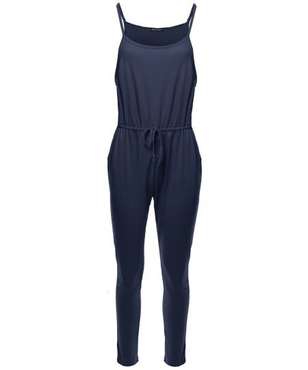 Women's Solid Elastic Waist Adjustable Straps Long Jumpsuit