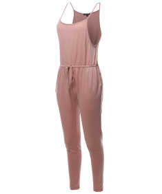 Women's Solid Elastic Waist Adjustable Straps Long Jumpsuit