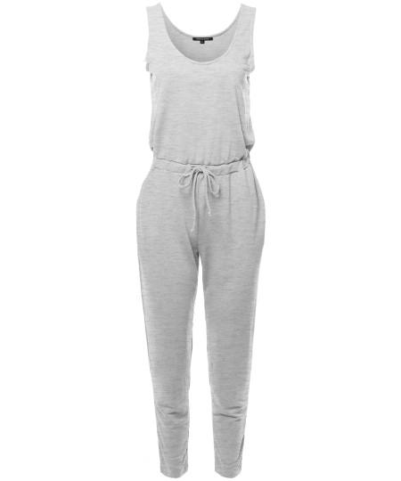 Women's Solid Sleeveless Drawstring Waist Long Jumpsuit