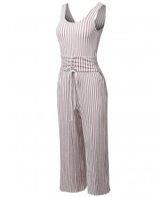 Women's Pin Stripe Sleeveless Corset Sash Belt Long Jumpsuit