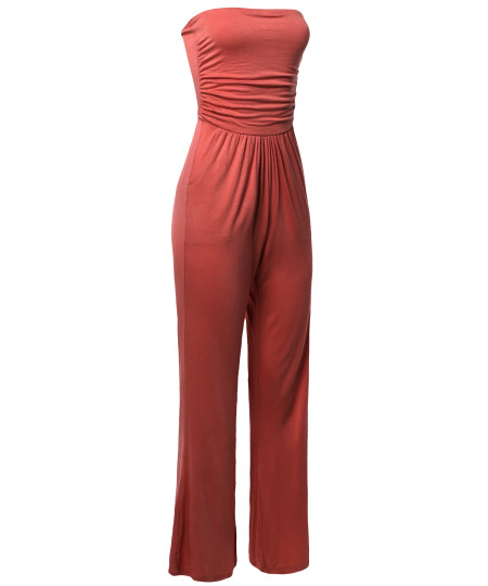 Women's Casual Tube Top Strapless Stretchable Long Wide Leg Jumpsuit