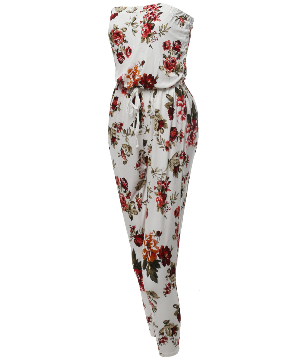3544e09013 Women s Loose Fit Floral Tube Top Strapless Stretchable Jumpsuit ...