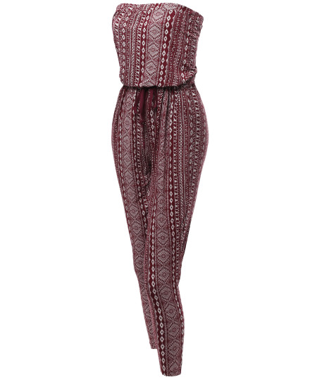 Women's Aztec Pattern Tube Top Strapless Stretchable Loose Jumpsuit
