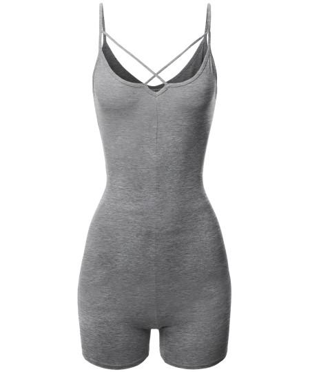 Women's Front Cross Strap Cami Jersey Cotton Spandex Bodysuit