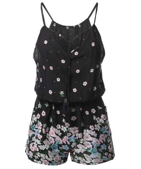 Women's Casual Side Pockets Patterned Front Straps Detail Sleeveless Romper