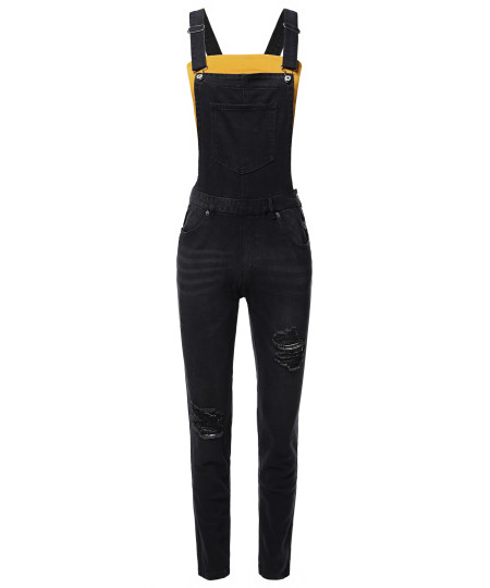 Women's Casual Classic Stylish Denim Single Chest Pocket Bib Strap Ripped Overall