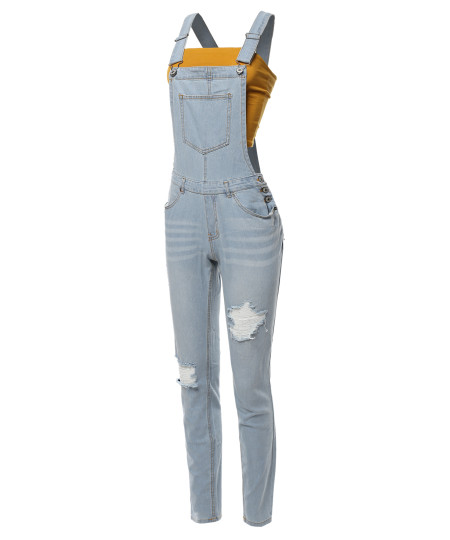 Women's Casual Classic Stylish Denim Single Chest Pocket Bib Strap Ripped Overall