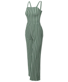 Women's Casual Fashionable Stretchable Pinstripe Long Wide Leg Jumpsuit