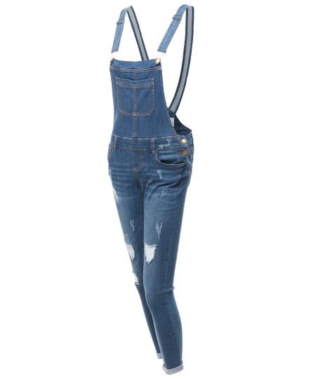 Women's Casual Stylish Skinny Denim Single Chest Pocket Bib Strap Ripped Overall
