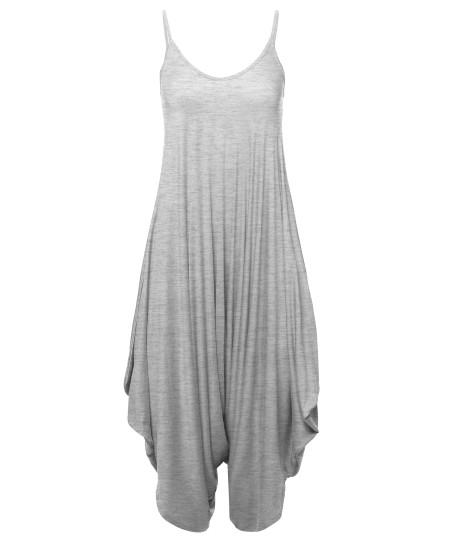 Women's Solid Harem Pant Sleeveless Harem Pant Jumpsuit