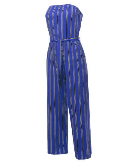 Women's Casual Stripes Ankle Length Tube Top Jumpsuit