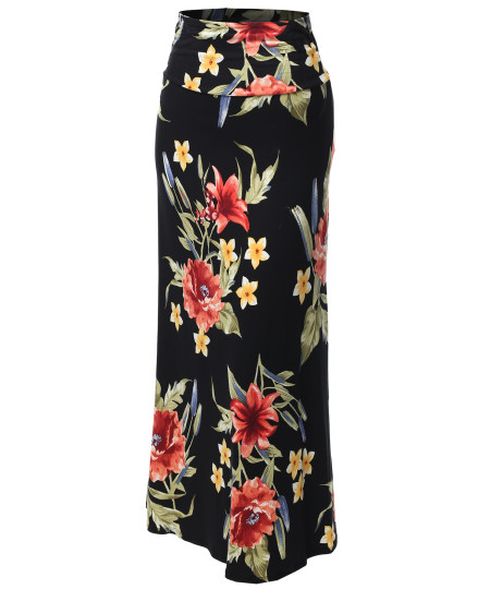 Women's Stylish Fold Over Flare Long Maxi Skirt - Made In USA