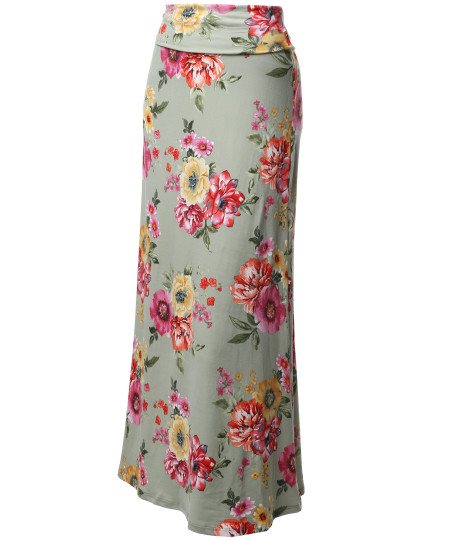 Women's Stylish Fold Over Flare Long Maxi Skirt - Made In USA