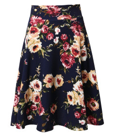 Women's Floral Elasticized Waistband Swing A-Lined Skirt MADE in USA