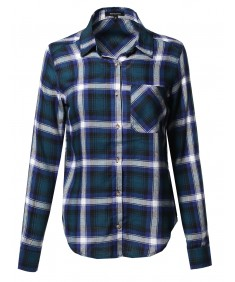 Women's Asymmetrical Plaid Point Collar Shirt