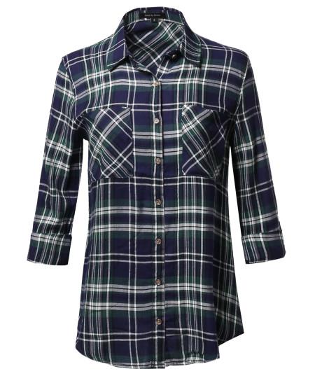 Women's Asymmetrical Plaid Roll-Tab Sleeves Point Collar Shirt