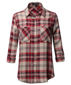 Women's Asymmetrical Plaid Roll-Tab Sleeves Point Collar Shirt