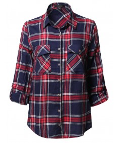 Women's Asymmetrical Plaid Roll-Tab Sleeves Patch Pockets Shirt