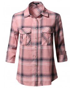 Women's Asymmetrical Plaid Roll-Tab Sleeves Shirt