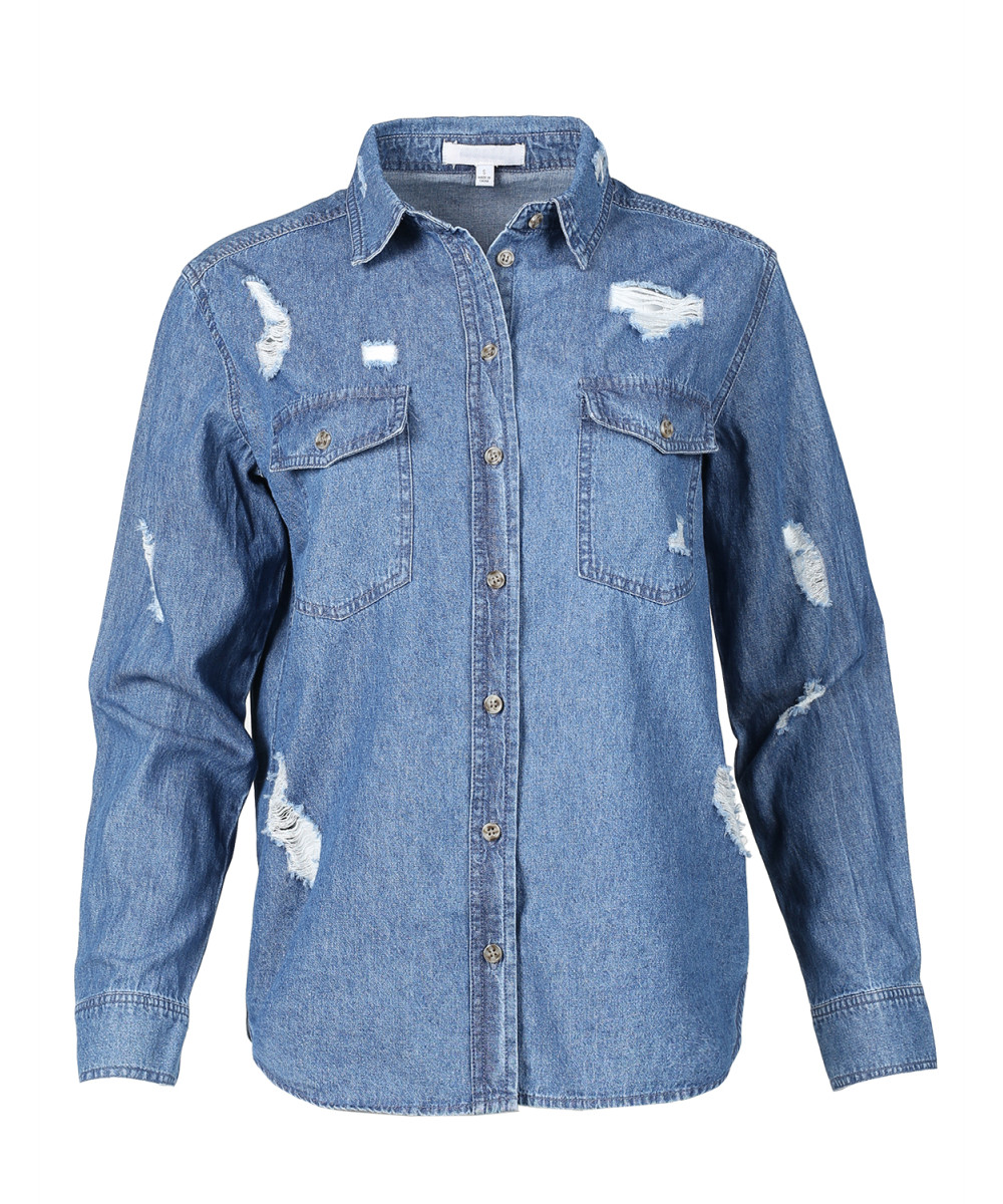 Women 39 s relaxed long sleeve distress chambray denim button for Chambray jeans