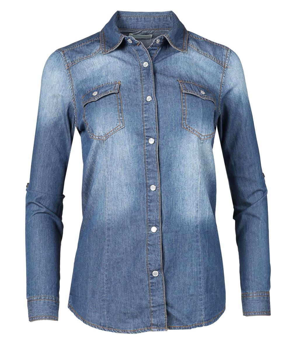 Women 39 s slim long sleeve chambray western denim button for Denim button down shirts