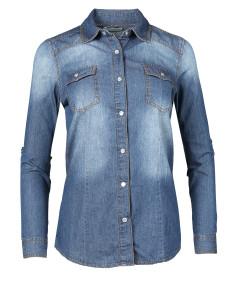 Women's Slim Long Sleeve Chambray Western Denim Button Down Shirt