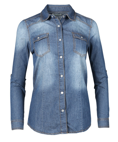 Women's Slim Long Sleeve Chambray Western Denim Button Down Shirt