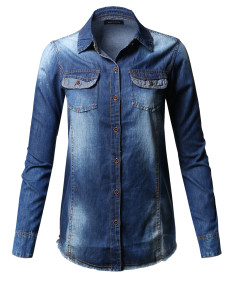Women's Raw Hem Long Sleeve Chambray Denim Button Down Shirt
