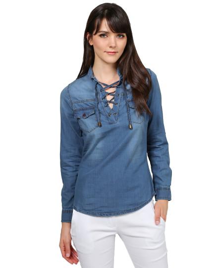 Women's Fashionable Roll Up Long Sleeve Mandarin Collard Neck with Lace Up Denim Shirt