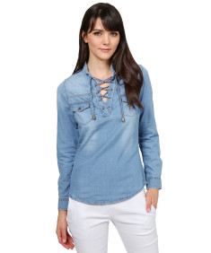 Women's Fashionable Roll Up Long Sleeve Mandarin Collard Neck with Lace Up Denim Shirt
