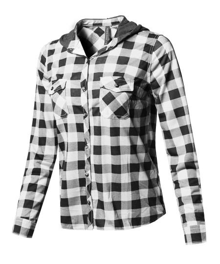 Women's Checkered Plaid Button Up Shirt With Contrast Hoodie