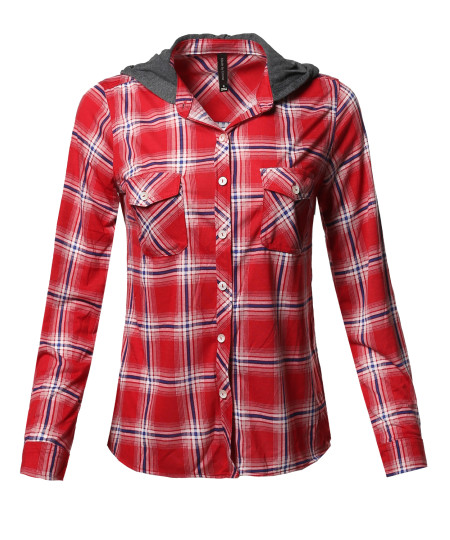 Women's Checkered Plaid Button Down Shirt with Contrast Hood