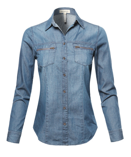 Women's Basic Classic Button Closure Roll Up Sleeves Chest Zipper Pocket Denim Chambray