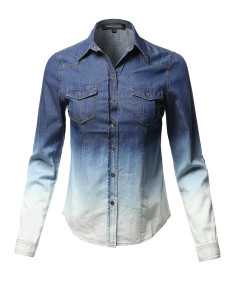 Women's Casual Tiedye Blue Roll Up Sleeves Flap Pockets Denim Chambray Shirt