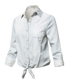Women's Casual Adjustable Roll Up Sleeves Chest Pocket Front Tie Denim Shirt