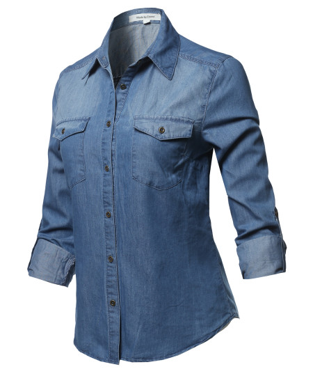 Women's Casual Adjustable Roll Up Sleeves Button Down Chest Pocket Denim Shirt