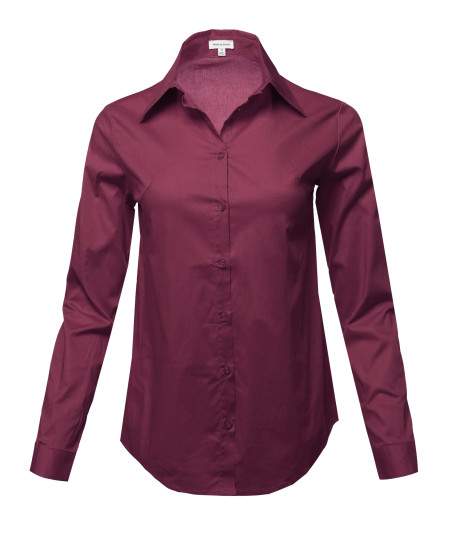 Women's Casual Work Basic Solid Stretch Long Sleeve Button Down Shirts Blouse