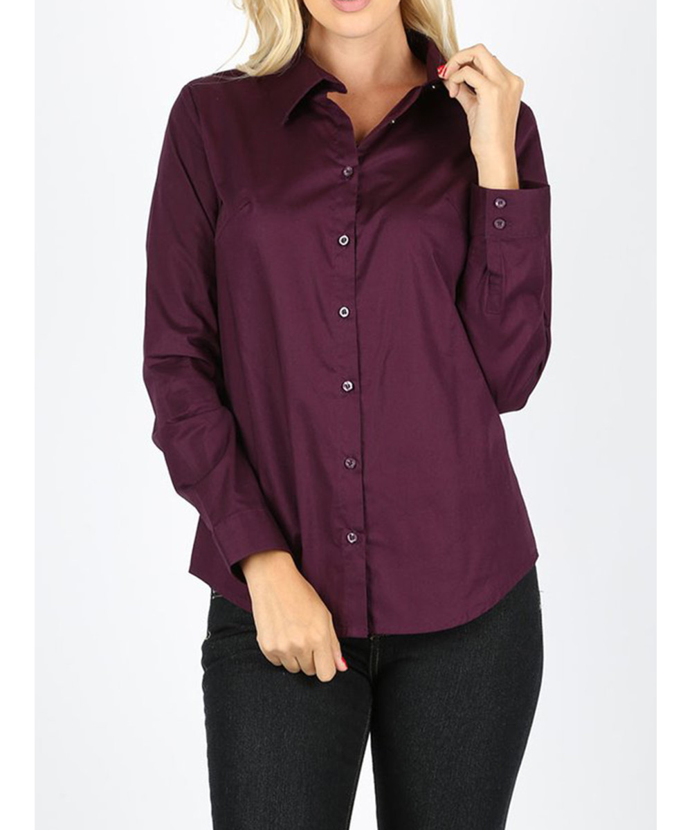 de2a56914a49fc Women's Casual Work Basic Solid Stretch Long Sleeve Button Down Shirts  Blouse