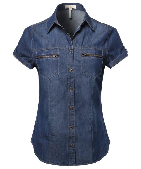 Women's Short Roll Up Sleeves Chest Pocket Denim Chambray